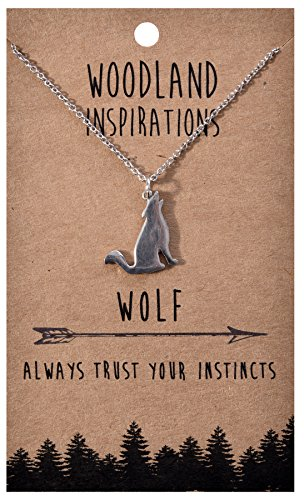 Shagwear Woodland Nature Inspirations Quote Necklace (Wolf Pendant)