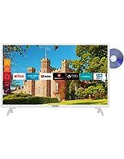 Telefunken XF32J519D-W 32 inch televisie (Smart TV incl. Prime Video/Netflix/YouTube, Full HD, DVD-speler, Bluetooth, Works with Alexa, Triple-Tuner) [Modeljaar 2020]