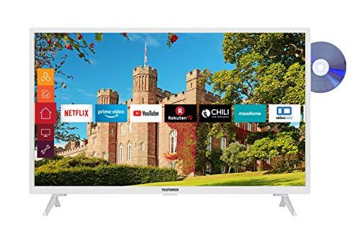 Telefunken XH32J511D-W 32 inch televisie (Smart TV incl. Prime Video/Netflix/YouTube, HD ready, DVD-speler, Works with…