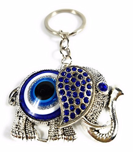 Blue Evil Eye Lucky Elephant Keychain Evil Eye Feng Shui Bead Good Lucky Charm Blessing Protection Religious Charm Birthday Blessing Congratulatory Gift by SNG888