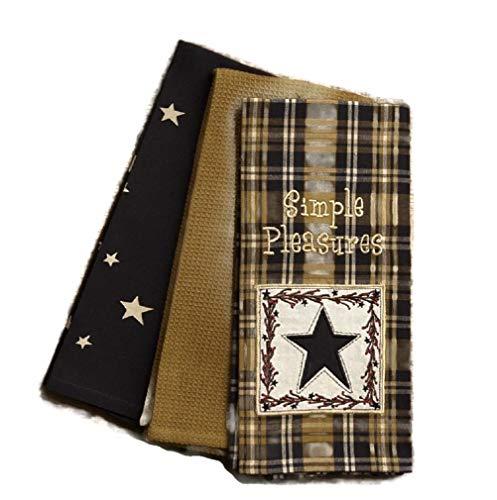 Your Heart's Delight by Audrey's Country Primitive Simple Pleasures Star Berries Vine Dishtowel Set of 3 Cotton Tea Towels