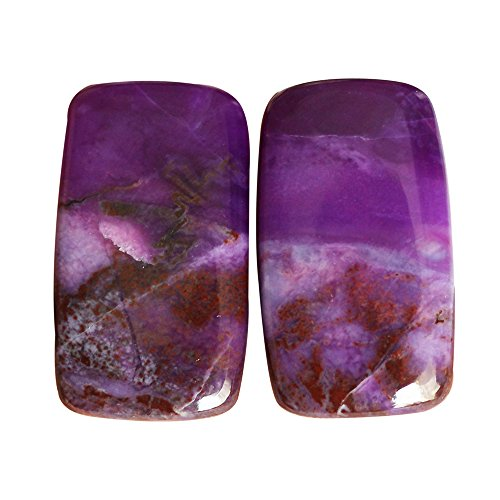 Superb Quality Natural South African Sugilite Pair Cabochon, 25X15X3 MM, Matched Earring Pair Loose Gemstone AG-5559 by ABC Jewelry Mart