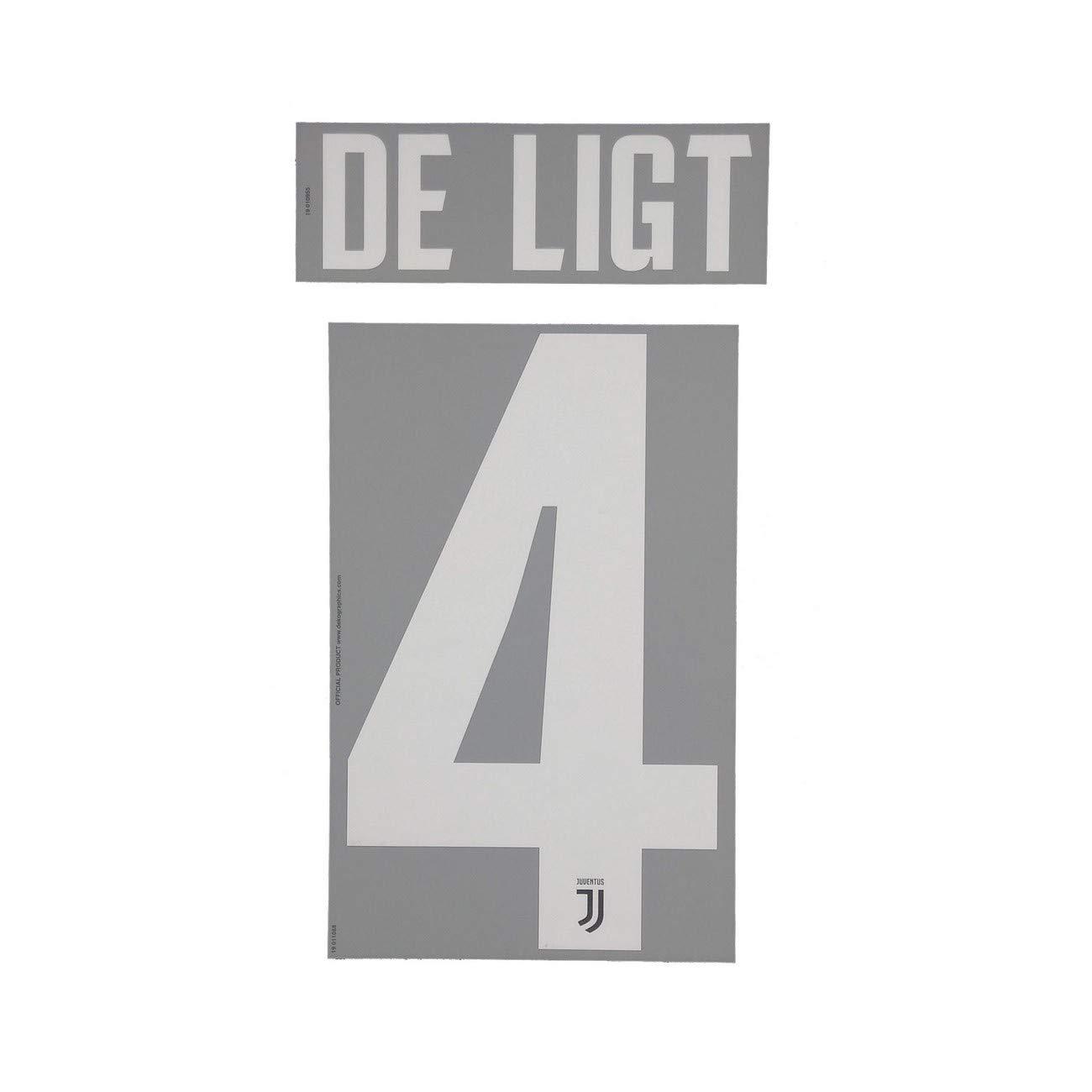 Bianco DEKOGRAPHICS Juventus 4 De Ligt Nome e Numero Maglia Home 2019//20