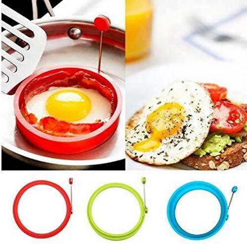 AMOYER 1pc Silicone Uovo Fritto Pancake Antiaderente Frittata Uovo Fritto Shaper Rotondo Uova Stampo per Cucinare Colazione Padella Forno Cucina Colore Casuale
