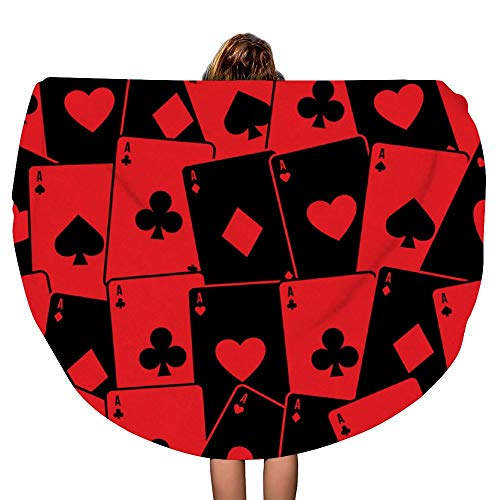 SARA NELL Thick Round Beach Towel Blanket - Round Beach Towel Playing Cards red Large Circle 60 Inch Circular Mat - Ultra Soft Super Water Absorbent Multi-Purpose Towel