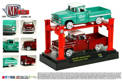 1958 GMC Suburban Carrier & 1959 Chevrolet Apache * M2 Machines * 2013 Auto-Lift 1:64 Scale Die-Cast Vehicles & Auto-Lift Display 2 Pack