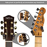 String Swing Guitar Hanger - Holder for Electric Acoustic and Bass Guitars - Stand Accessories Home or Studio Wall - Musical Instruments Safe without Hard Cases - Black Walnut Hardwood CC01K-BW 2-Pack