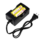 Outlite 2PCS 18650 3600mAh 3.7V Protected Rechargeable Lithium Battery with Fast Li-ion Battery Charger for Handheld Flashlight Headlight Headlamp and Torch