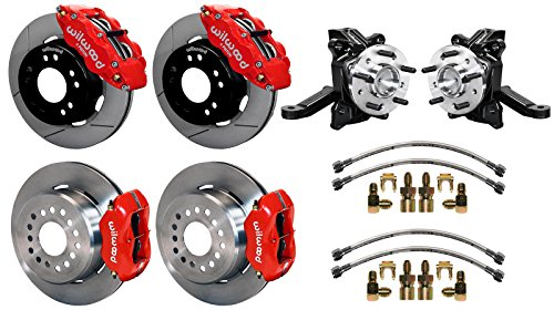 """NEW WILWOOD FRONT & REAR DISC BRAKE KIT WITH DROP SPINDLES & LINES, 12.19"""" ROTORS RED 4 PISTON CALIPERS, 1971-1987 CHEVY C10 GMC C15 C1500 2WD TRUCKS SUBURBANS 1979 1980 1981 1982 1983 1984 1985 1986 -  Southwest Speed, 140-15302_10094-R_14202"""