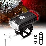 Bike Light Set,2 in 1 USB Rechargeable LED Bike Lights Front and Back Set,Waterproof 6 Modes Bike Helmet Light