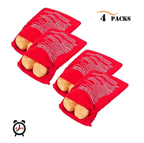 4 Pack Microwave Potato Cooker Bag, Unop Reusable-Machine Washable-Red Microwave Baking Fabric Pouch Perfect for Any Type of Potatoes Express Bake Just in 4 Minutes by Unop