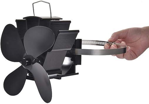 sin Consumo de Pleasure Mississ Ventilador de Estufa de 4 Palas Alimentado por Calor Ventilador de Chimenea silencioso de Ahorro de energ/ía para le/ña//Quemador de le/ña//Tubo de Chimenea de 152 mm