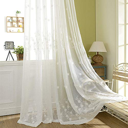 - AliFish Country Style Beige Voile Curtain Tulle Floral Embroidered Sheer Curtains Room Divider Window Drapes Curtain Panels Decorative Window Treatments for Sliding Glass Door 1 Panel
