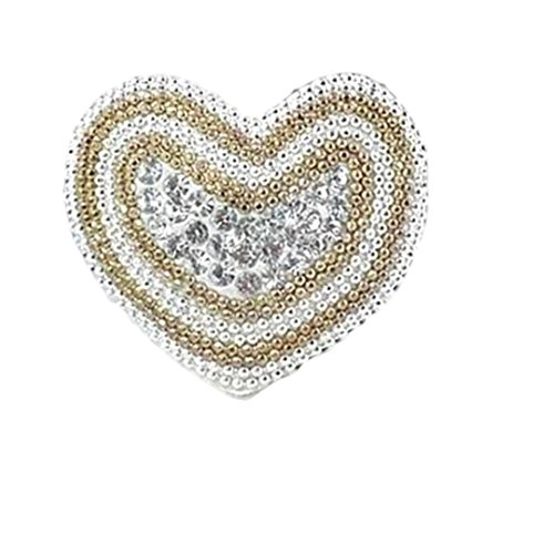 Clear Crystal Heart Stretch Ring Silver Gold Beads White Z3 Silver (Heart Stretch Ring)