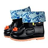 Sikye Kids' Waterproof Sneaker Cartoon Duck Rubber Rain Boot Warm Shoe Velvet for Toddler Boys Girls (Black, 12-24M)