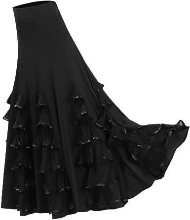 Dolity Traje de Baile Flamenco Baile Vals Vestido Largo Falda ...