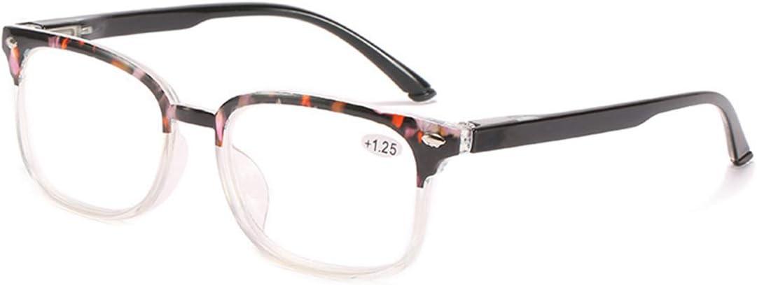 LGQ Gafas de Lectura Coloridas con Montura de PC, Lentes de Resina HD para Hombres y Mujeres, Alta transmitancia de luz/Patillas elásticas, dioptrías de +1,00 a +3,00,Rosado,+2.00