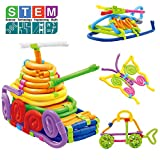 Building Sticks Blocks Set for kids (61PCS) - 3D Puzzle Flexible Rods Construction Stem Toys DIY Games for Imagination Education Early Learning Molding