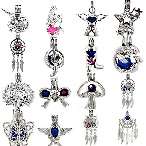 16X/lot Dream Catcher Butterfly High Heel Boots Angel Owl Mermaid Star Peacock Bowknot Beads Pearl Cage Pendant Locket Mix ()