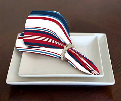 A LuxeHome Red White Blue Americana Nautical Stripe July 4th Patriotic Lunch Dinner Napkins 17