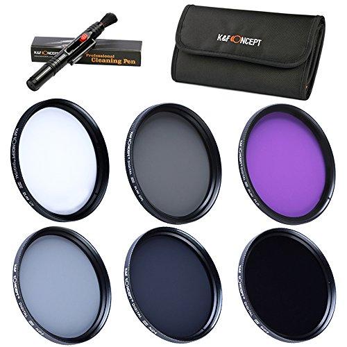 40.5mm Packs de Filtro Fotografico - K&F Concept® Filtro polarizador Filtro Ultravioleta UV CPL FLD, ND2+ND4+ND8 Filtro de Densidad Nuetra para Canon Nikon DSLR Camaras + Pluma de Limpieza + Estuche para 6 filtros