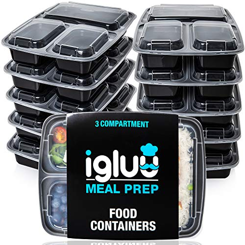 [10 pack] 3 Compartment BPA-Free Reusable Meal Prep Containers   Plastic...