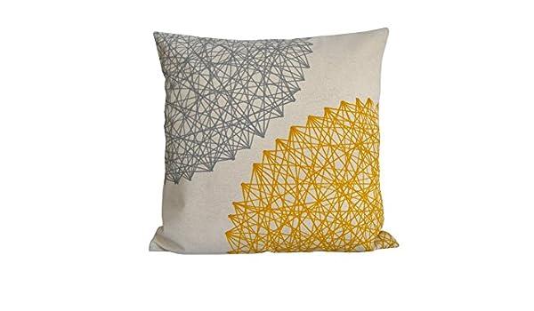 2 cojines de lino -algodón, Cojín amarillo y gris 40 x 40 cm ...