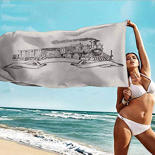 Antonia Reed Popular Bath Towels Vintage,Old School Steam Locomotive with Banner on an Off White Background Monochrome,Cream and Black,Suitable for Home,Travel,Swimming Use 28