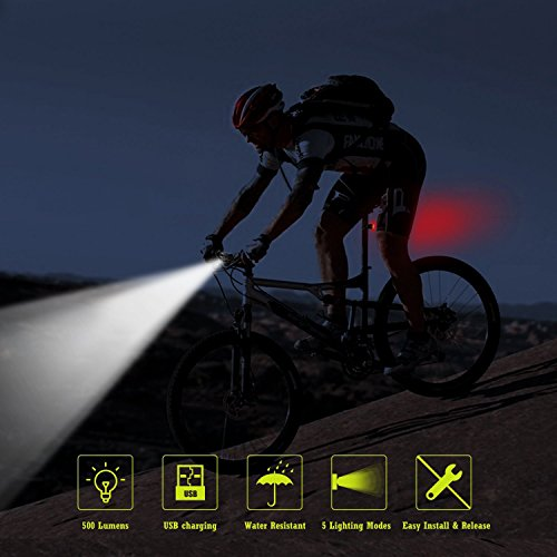 AUOPRO LED Bike Light Set - Bicycle Headlight USB Rechargeable and Red Taillight, Front and Back Rear Lights, Water Resistant Easy to Install for Road Cycling, Commuting by AUOPRO (Image #5)