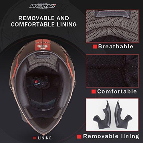 NENKI Dual Sport Helmet Full Face Motocross & Motorcycle Helmets Dot Approved Iridium Red Visor Attached Clear Visor NK-310 (XL, Matt Black & Red) by NENKI (Image #6)