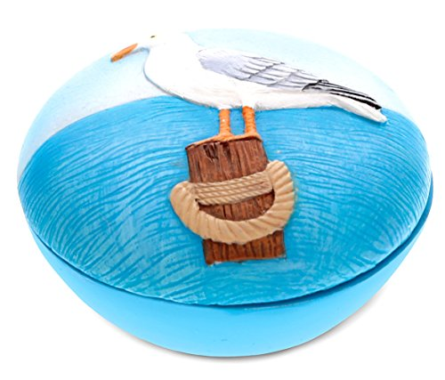 (CoTa Global Resin Blue Seagull Jewelry Box, 3 Inch Intricate & Meticulous Detailing Art Trinket Accessory Organizer Treasure Chest Storage Tabletop Accent Nautical Beach Sea Bird Themed Home Décor)