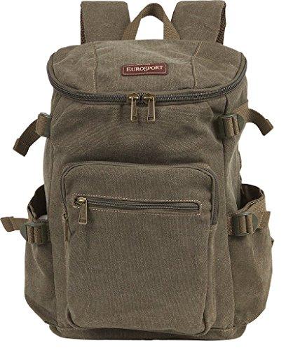 Eurosport Canvas Backpack Olive B709 Pockets Adjustable Straps Padded Back Large (Eurosport Canvas Backpack)