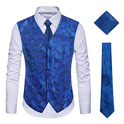 WULFUL Men's 3pc Paisley Vest Necktie Pocket Square Set for Suit or Tuxedo Royal Blue