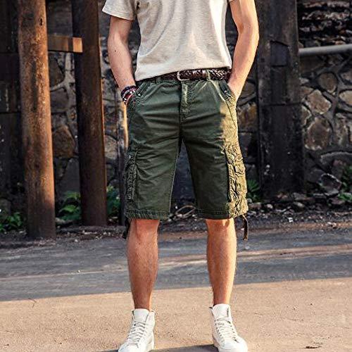 Chándal Armygreen Colores Rectos De Cortos Sólidos Casuales Ropa Verano Hombres Pantalones Algodón Festiva U87vqvnz