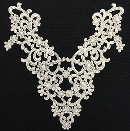 2 Pieces, Victorian Venice Lace Applique Yoke, Thick Quality, Ivory, 9.5