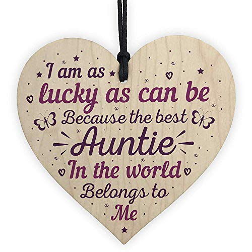 Cheyan Keepsake Wooden Heart Plaque Birthday Thank You Gifts for Auntie Aunty Aunt Mum