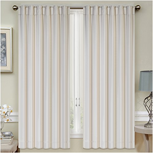Mellanni Thermal Insulated Blackout Curtains – 2 Panels – Window Treatments / Drapes for Bedroom, Living Room with Pole Top, 7 Back Loops and 2 Tiebacks (2 Panels, 52″ x 63″ Each, Beige)