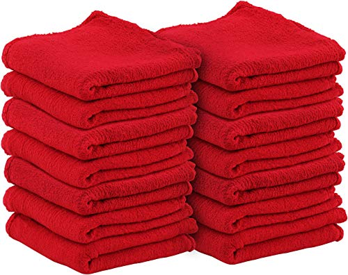 Utopia Towels Commercial Cotton Shop Towels - Red (100 Pack) ()
