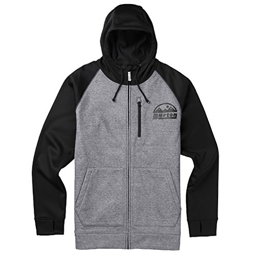 Burton Bonded Full Zip (Monument Heather) Hoodie-XLarge - Burton Hooded Jacket Fleece