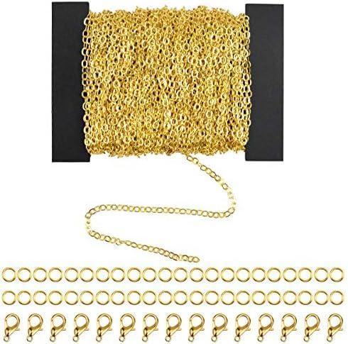 HQdeal 394 Voeten 3mm DIY Link Ketting Ketting Curb Ketting met 100 stks Jump Ringen 30 stks kreeft Sluiting voor Sieraden maken Goud en Zilver Goud