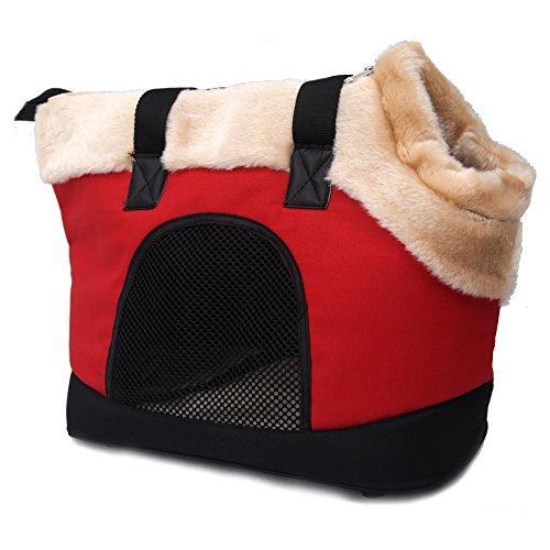 Petsfit Soft-Sided Ferret Carrier, Furry Warm Pet Carrier with Mesh Sides, Fleece Mat (Sided Fleece Mat)