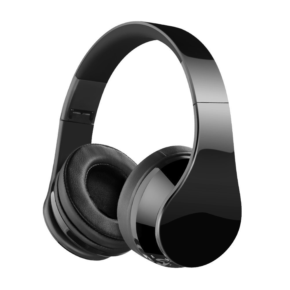 Bluetooth Headphones, Jiebleum Bluetooth Headphones Over Ear, Hi-Fi Stereo Wireless Headset, Foldable, Soft Memory-Protein Earmuffs, w/ Built in Mic and Wired Mode for PC/ Cell Phones/ TV - Black