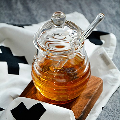 TAMUME 290ml Crystal Glass Honey Jars with Glass Honey Dipper and Lid Cover