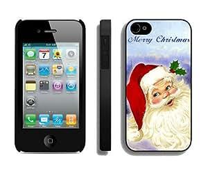 Custom-ized Design Santa Claus Black iPhone 4 4S Case 1