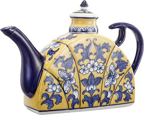 (A&B Home FD69858 Florence De Dampierre Blue & Yellow Ceramic Tea Pot, 11 by 2 by 7