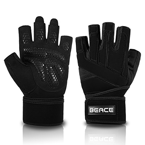 BeaceGlove Mens Workout Gym Gloves with Wrist Wrap Support, Full Padded Palm Protection & Anti-slip Weight Lifting gloves for Exercise Training Fitness and Bodybuilding