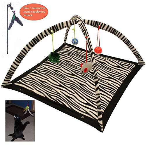 Power of Dream Cat Play Mat,Interactive Cat Activity Play Mat, Foldable Mat,Cat Play Center with Hanging Toy,Zebra Printed (Zebra (Cat Play Center)
