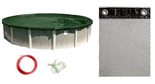 Buffalo Blizzard Bundle for 24-Foot Round Above-Ground Swimming Pools - Supreme Green/Black Reversible Winter Cover with 4-Foot Overlap and Mesh Leaf Net Cover Closing Kit