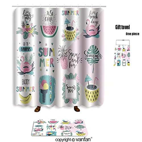 vanfan bath sets with Polyester rugs and shower curtain summer lettering pop art set with holiday ele shower curtains sets bathroom 40 x 72 inches&23.6 x 15.7 inches(Free 1 towel and 12 hooks)