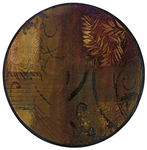 Moretti Kharma Ii Area Rug 1163B Casual Brown Abstract Leaves 6' x 6' ()